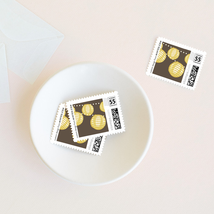 """Paper Lanterns"" - Rustic, Bohemian Wedding Stamps in Latte by Pixel 3."