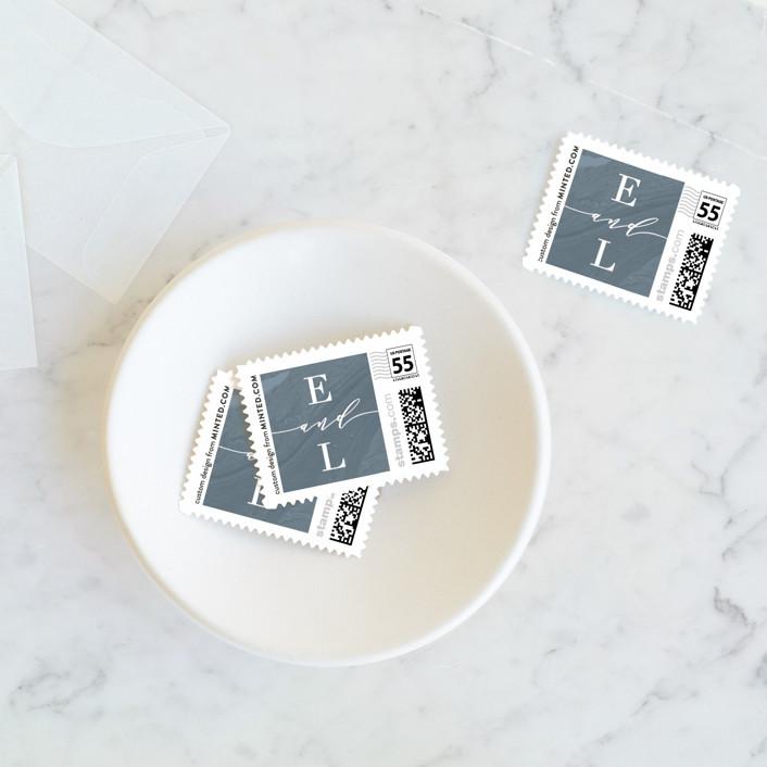"""""""Moody Marbling"""" - Wedding Stamps in Slate by Hooray Creative."""