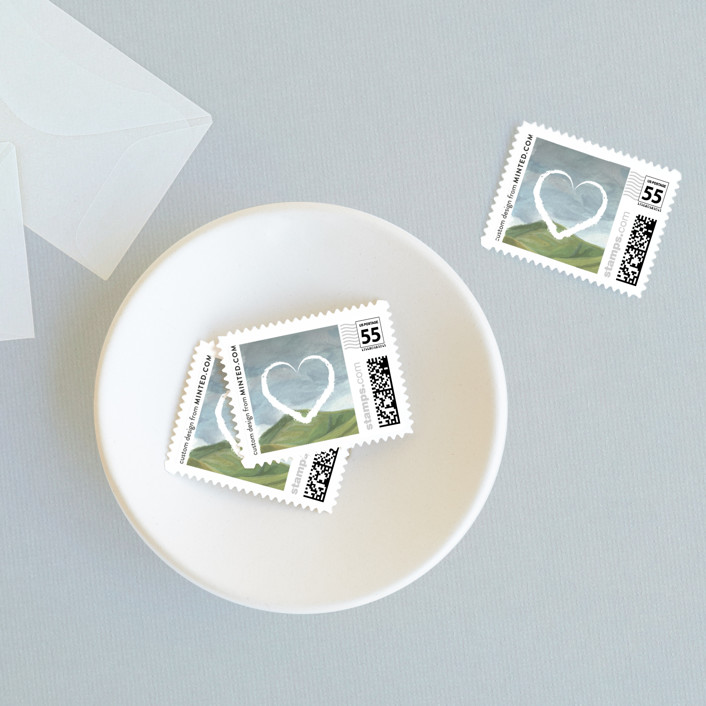 """Rolling Hills"" - Wedding Stamps in Meadow by Shiny Penny Studio."