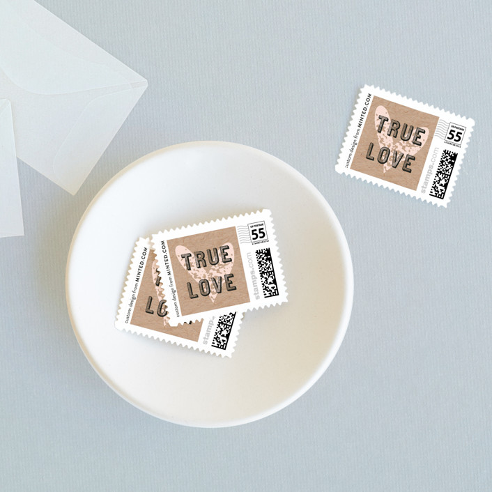 """Romance Rustique"" - Bold typographic, Rustic Wedding Stamps in Blush by Bonjour Paper."