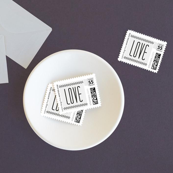 """Twine"" - Wedding Stamps in Black by Lauren Chism."