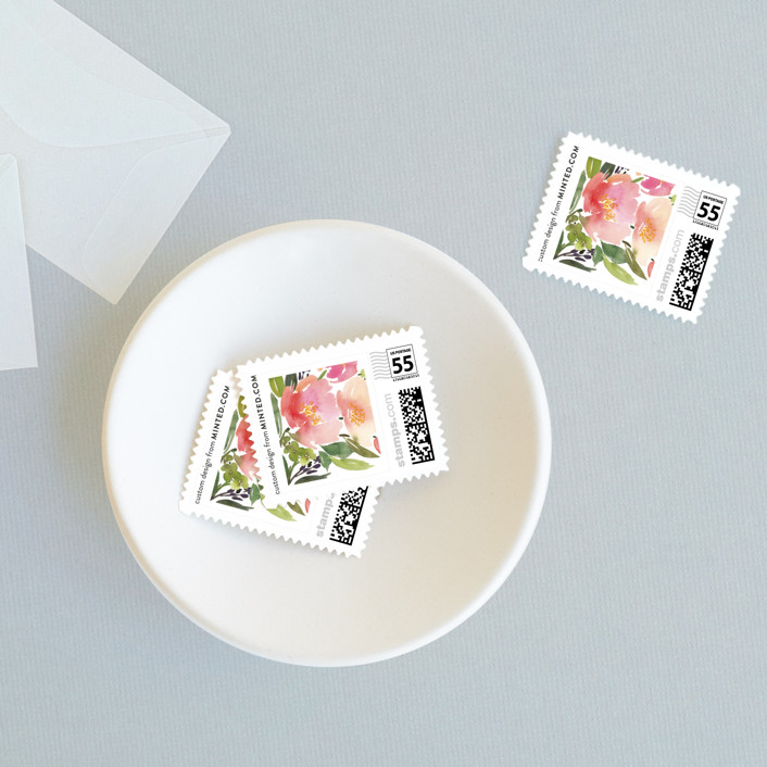 """Watercolor Floral"" - Wedding Stamps in Olive by Yao Cheng Design."