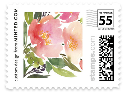 Watercolor Floral Wedding Stamps