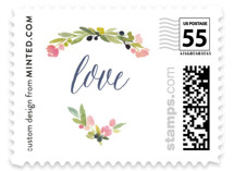 This is a pink wedding stamp by Yao Cheng Design called Watercolor Wreath with standard printing on adhesive postage paper in stamp.