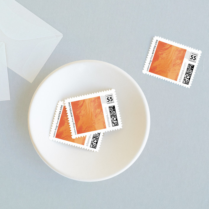 """Aquarelle"" - Modern Wedding Stamps in Apricot Rose by Sarah Lenger."