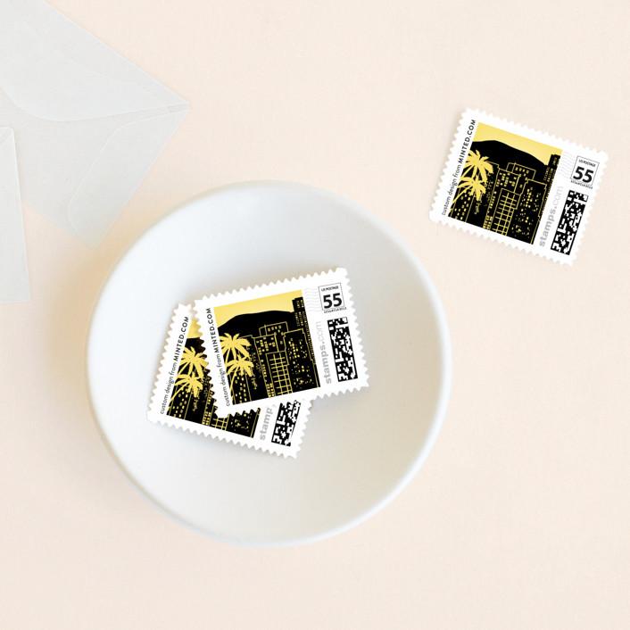 """Big City - Los Angeles"" - Wedding Stamps in Lemondrop by Hooray Creative."