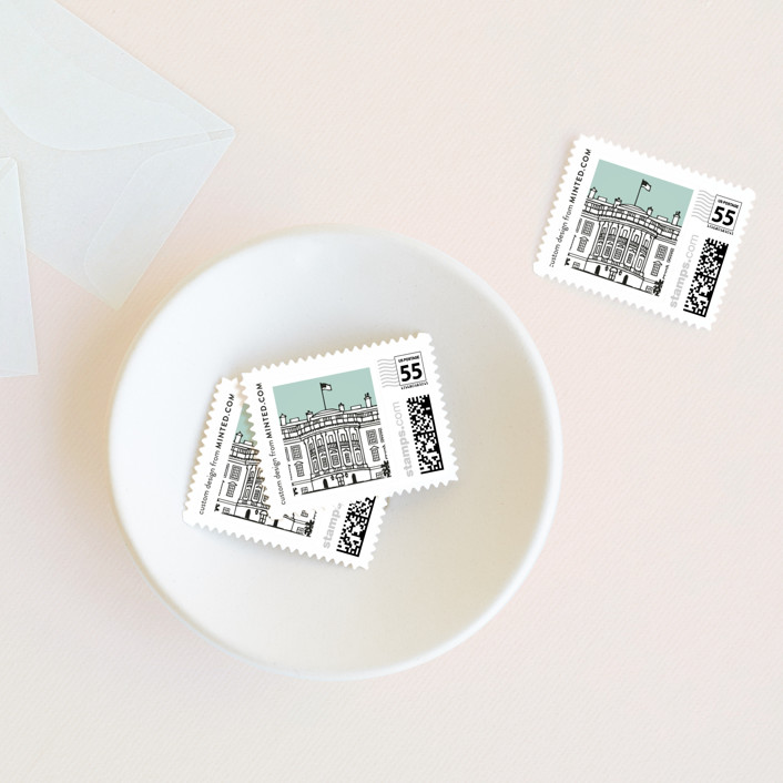 """Big City - Washington DC"" - Wedding Stamps in Mint Green by Hooray Creative."