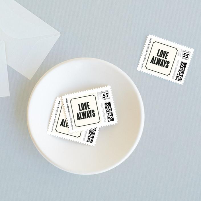 """Bistro"" - Bold typographic, Modern Wedding Stamps in Ebony by Sara Hicks Malone."