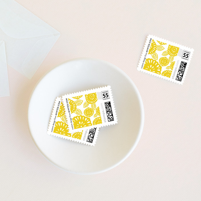 """Bold Block Print"" - Wedding Stamps in Mustard by Katharine Watson."
