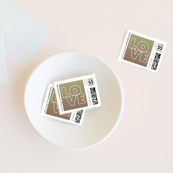 """""""Charge Ahead"""" - Modern Wedding Stamps in Antiqued White by Rouge Bicyclette."""