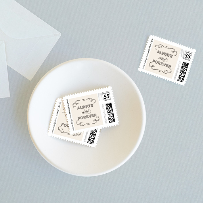 """""""Doux Amour"""" - Elegant, Formal Wedding Stamps in Ivory by Olivia Raufman."""