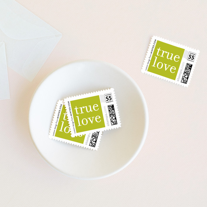 """""""float + celebrate"""" - Simple Wedding Stamps in Celery by Float Paperie."""