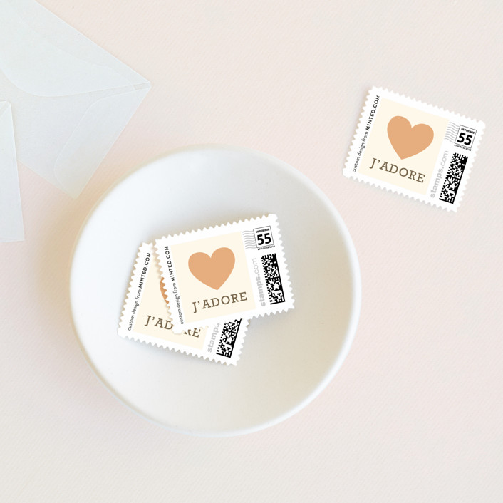 """Love Struck"" - Whimsical & Funny Wedding Stamps in Pale Salmon by The Social Type."