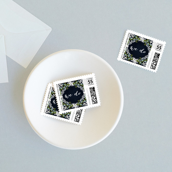 """Midnight Floral"" - Wedding Stamps in Indigo by Angela Marzuki."