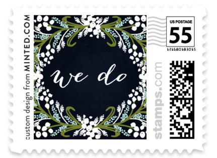 Midnight Floral Wedding Stamps