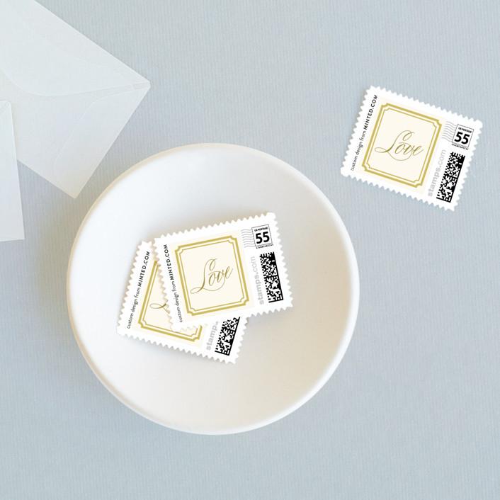 """Modern Classic"" - Modern Wedding Stamps in Golden Bear by annie clark."