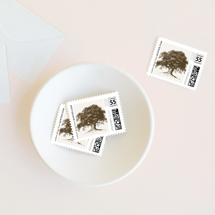 """Modern Crest"" - Rustic Wedding Stamps in Gravy by Milkmaid Press."