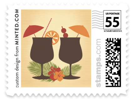 Tiki Luau Wedding Stamps