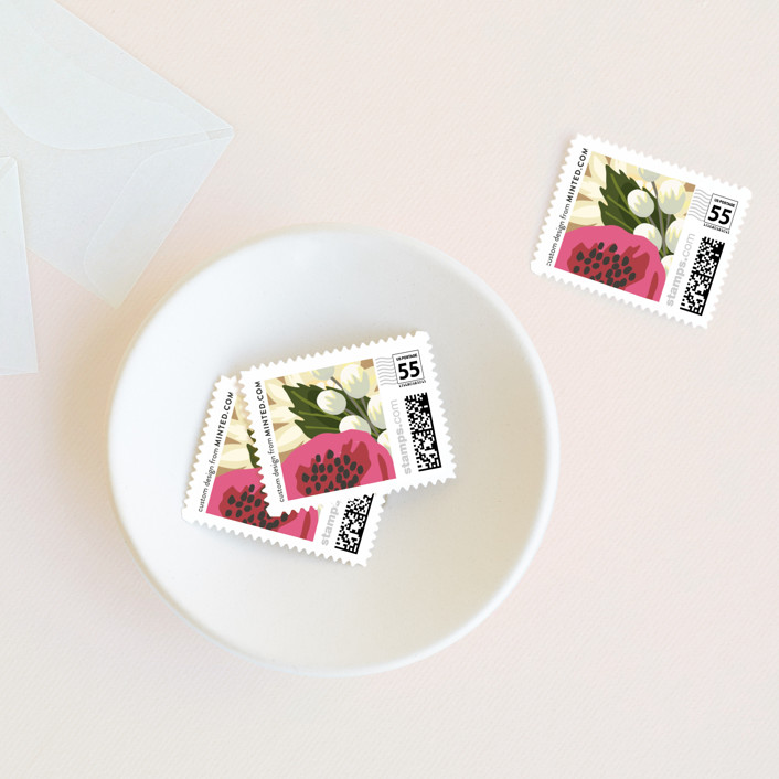 """""""Floral Canopy"""" - Rustic Wedding Stamps in Peony by Griffinbell Paper Co.."""
