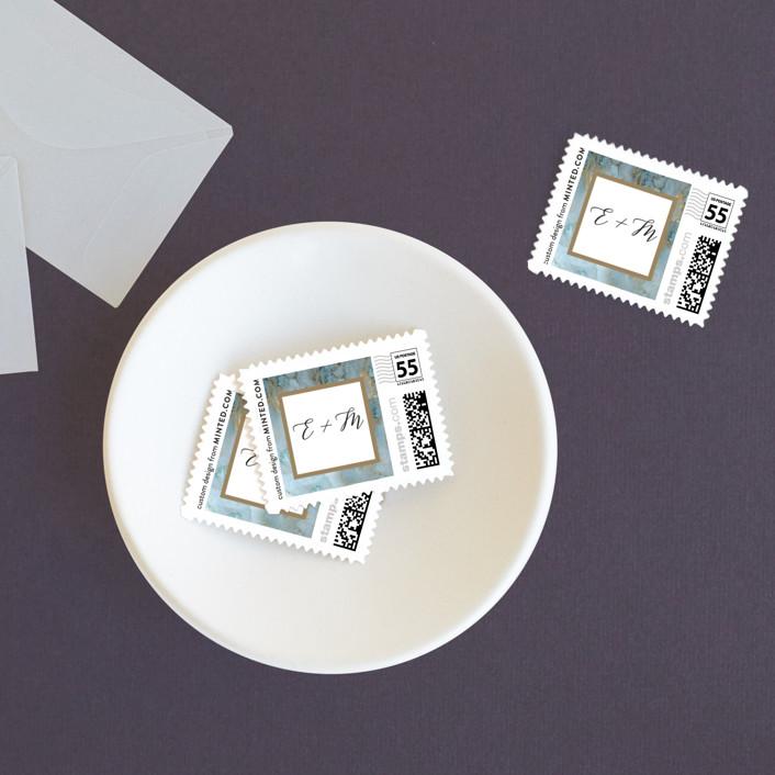 """Something Blue"" - Wedding Stamps in Aqua by Benita Crandall."