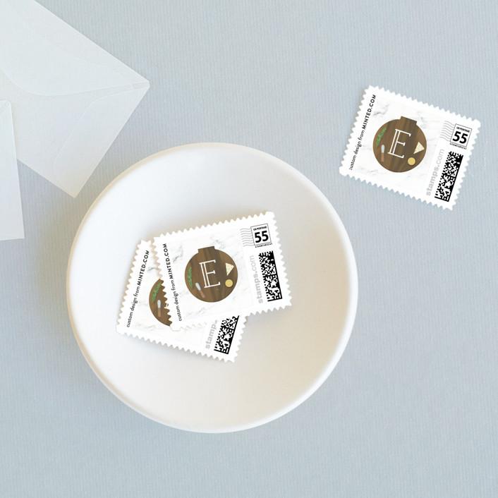 """Pairings Board"" - Wedding Stamps in Walnut by Itsy Belle Studio."
