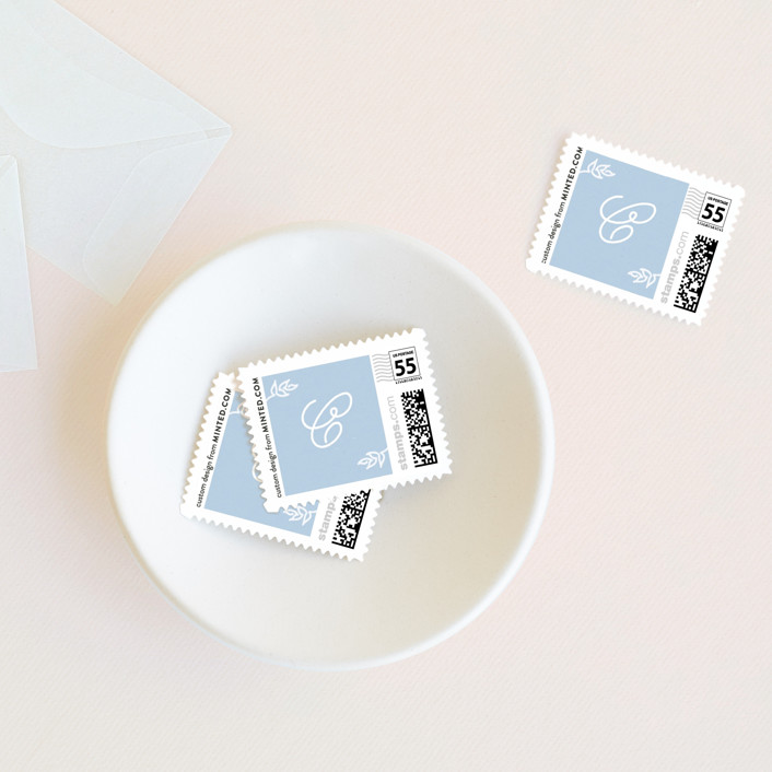"""""""Tea Time"""" - Wedding Stamps in Blueberry by Jennifer Lew."""