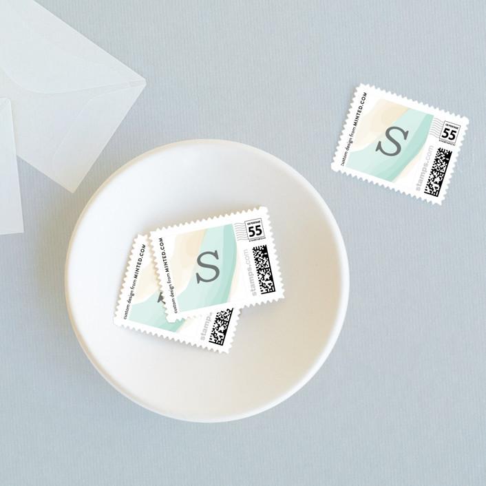 """tranquil"" - Wedding Stamps in Seafoam by Mai Jimenez."