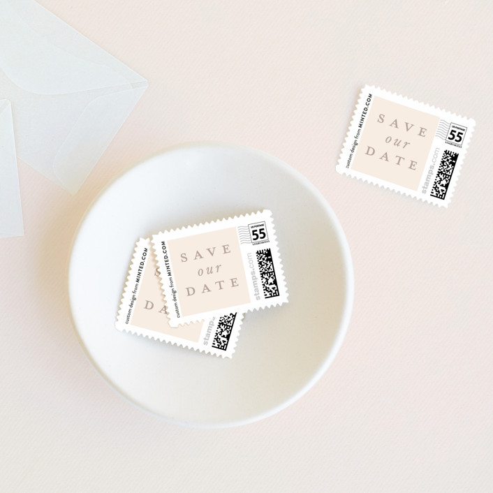 """""""Gilded Ampersand"""" - Wedding Stamps in Buttermilk by Hudson Meet Rose."""
