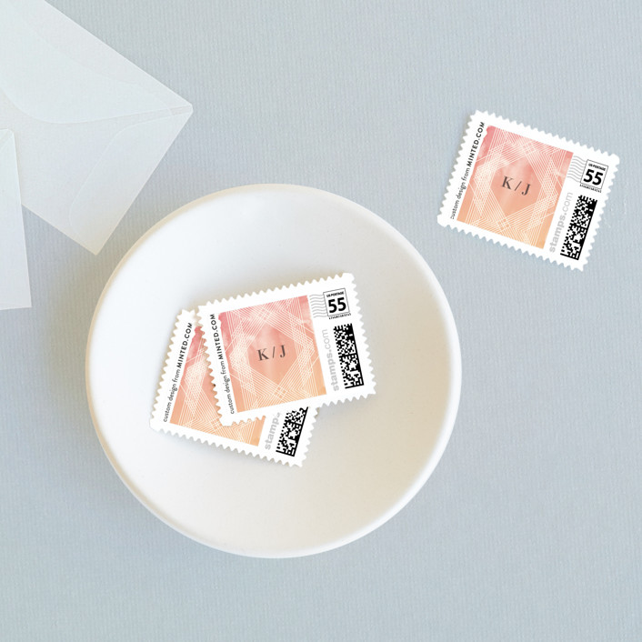 """Masked Wash"" - Wedding Stamps in Passion Fruit by Rebecca Bowen."