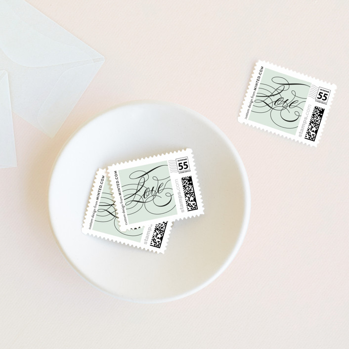 """Modern Angle"" - Wedding Stamps in Mint by Kristie Kern."