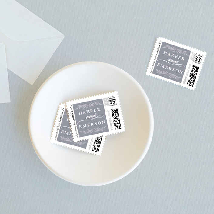 """""""Florabel"""" - Rustic Wedding Stamps in Lavender by Olivia Raufman."""