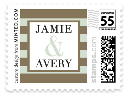 Romantic Stripes Wedding Stamps