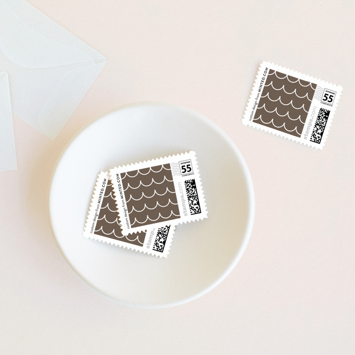 """Sweet Scallop"" - Modern Wedding Stamps in Taupe by annie clark."