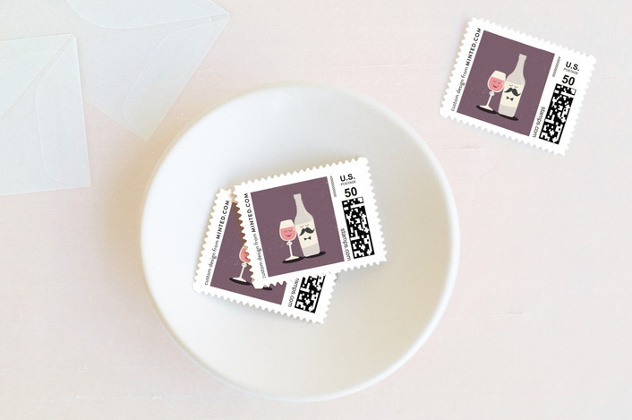 """""""Little Wine Charmers"""" - Winery, Whimsical & Funny Wedding Stamps in Grape by Coco and Ellie Design."""