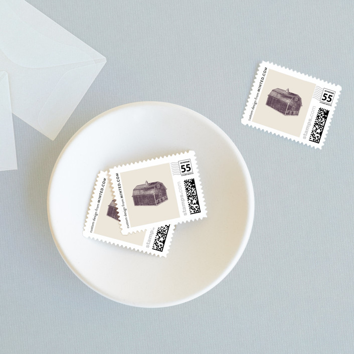 """""""The Barn"""" - Rustic, Vintage Wedding Stamps in Eggplant by The Social Type."""