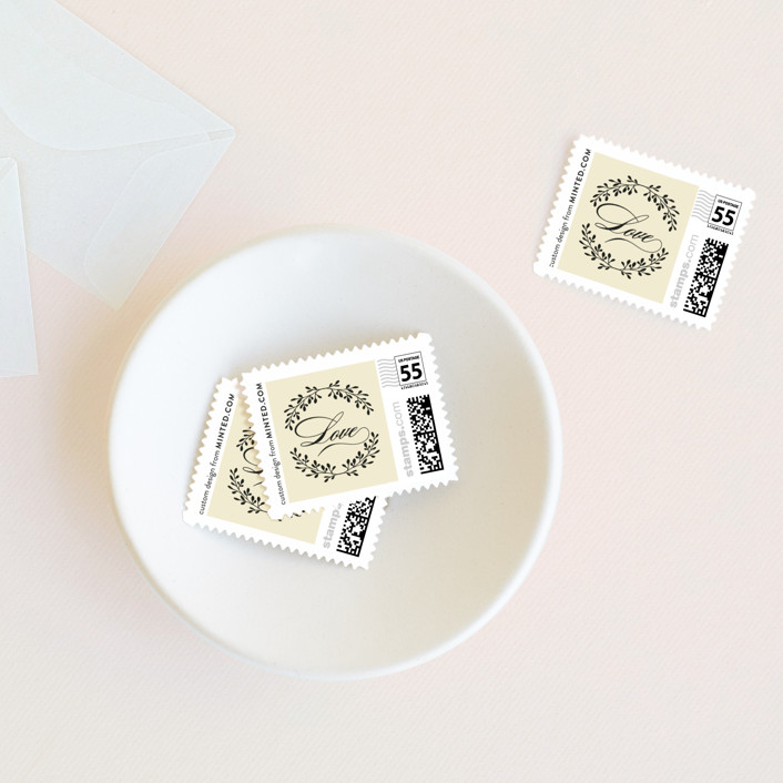 """Aspen Ridge"" - Modern Wedding Stamps in Cream by Eric Clegg."