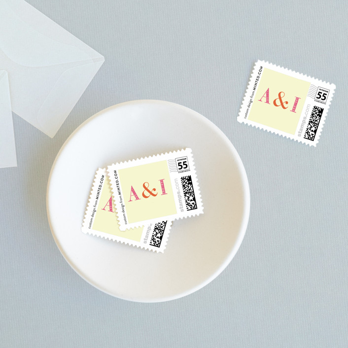 """You in or What"" - Bold typographic, Whimsical & Funny Wedding Stamps in Bubblegum by hi-lighter inc.."