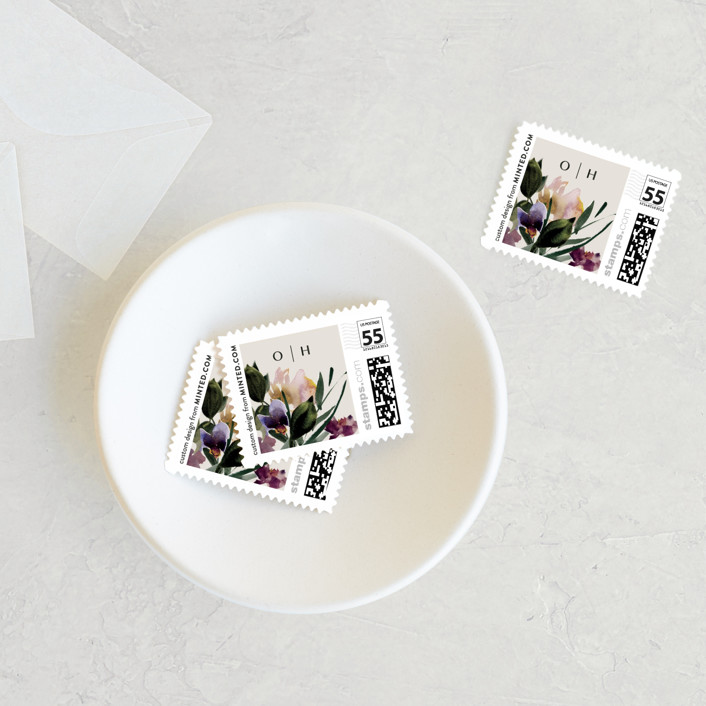 """""""Floral Love"""" - Wedding Stamps in Lilac by Lori Wemple."""