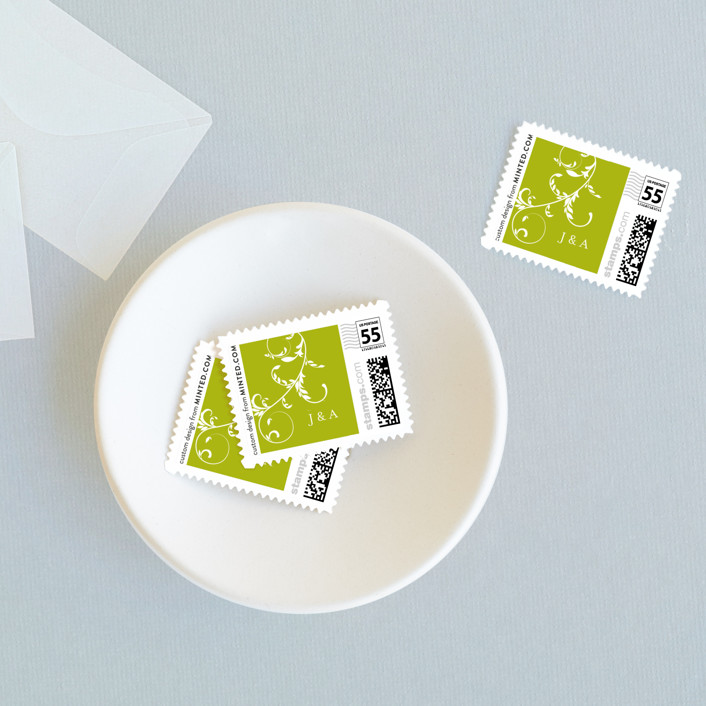 """""""Bloom"""" - Wedding Stamps in Leafy Green by The AV Design Factory."""