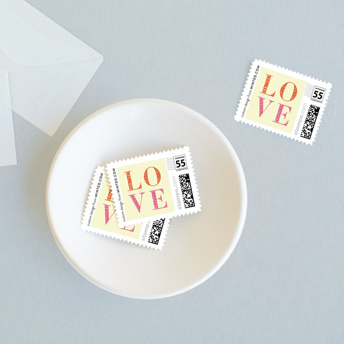 """""""You in or What"""" - Bold typographic, Whimsical & Funny Wedding Stamps in Bubblegum by hi-lighter inc.."""