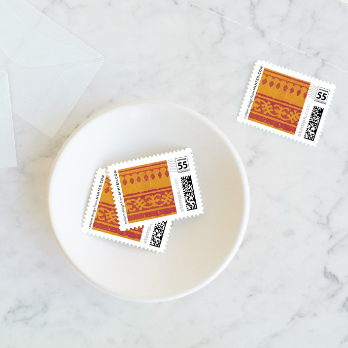 """""""Anand Karaj"""" - Wedding Stamps in Coral by Ann Gardner."""