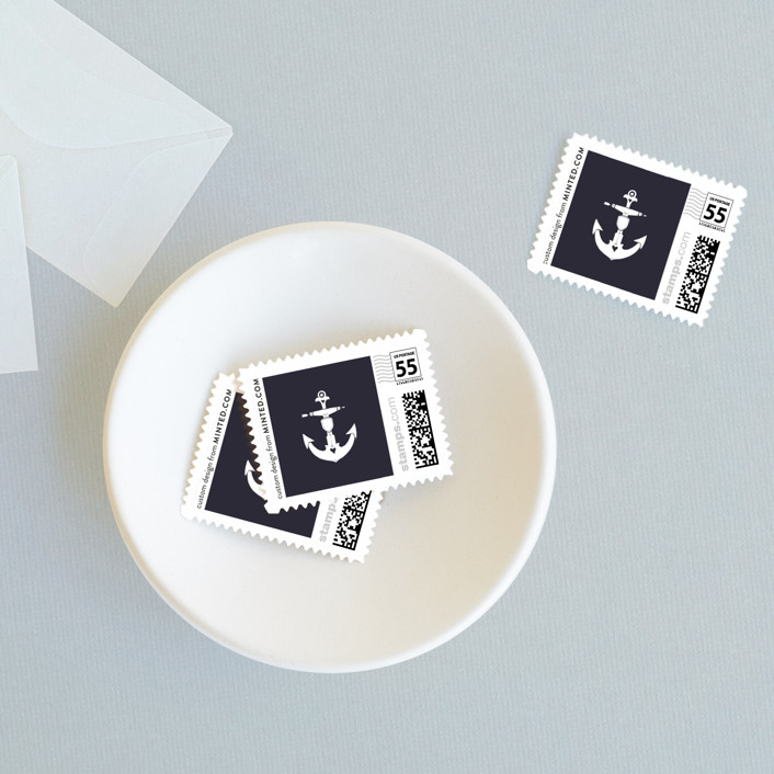 """Anchor Tattoo Love"" - Wedding Stamps in Navy by Kim Mesman."