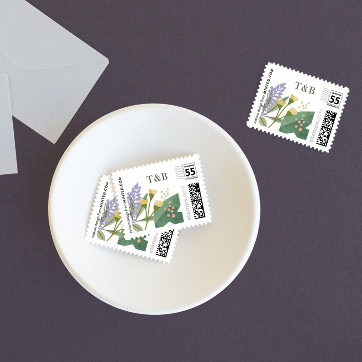 """""""Floral specimen"""" - Wedding Stamps in Persimmon by Jennifer Wick."""