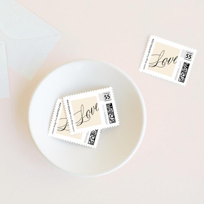 """Sabrina"" - Elegant, Formal Wedding Stamps in Vanilla by Olivia Kanaley."