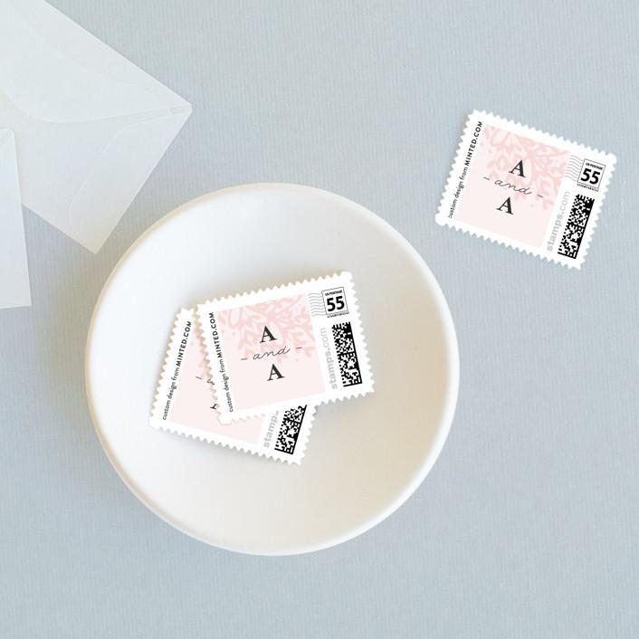 """Gem"" - Rustic Wedding Stamps in Blush by lena barakat."