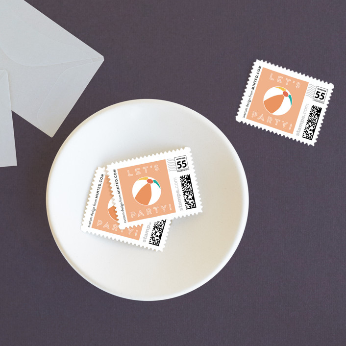 """""""Tropical Bliss"""" - Wedding Stamps in Peach by Jennifer Lew."""