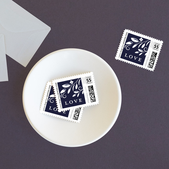 """""""Glazed"""" - Wedding Stamps in Azure by Susan Moyal."""