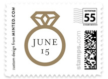 This is a brown wedding stamp by Melanie Kosuge called Chevron with standard printing on adhesive postage paper in stamp.