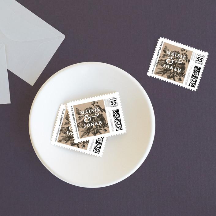 """""""Love in Bloom"""" - Rustic Wedding Stamps in Kraft by R studio."""