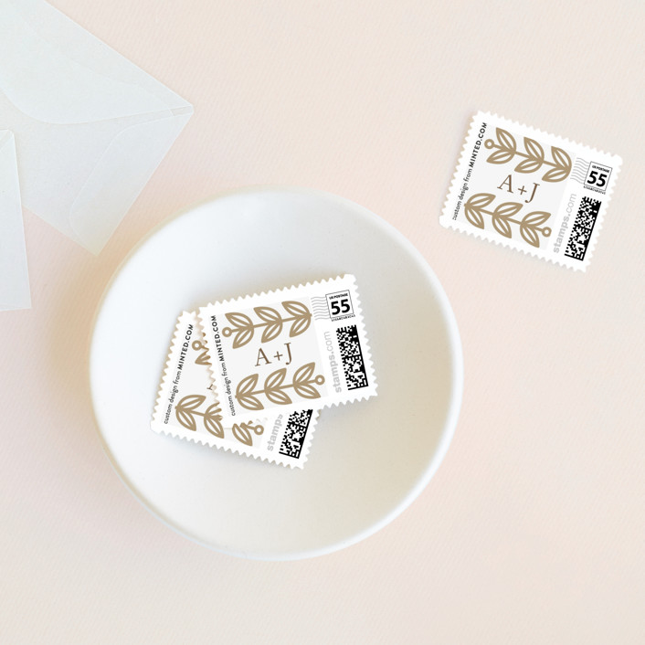 """Modern Frame"" - Wedding Stamps in Nutmeg by Alexandra Dzh."
